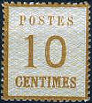 10 Centimes Norddeutscher Postbezirk mit Währung Franc