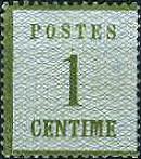 1 Centimes Norddeutscher Postbezirk mit Währung Franc