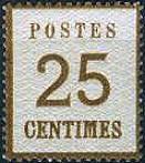 25 Centimes Norddeutscher Postbezirk mit Währung Franc