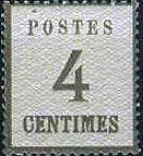 4 Centimes Norddeutscher Postbezirk mit Währung Franc