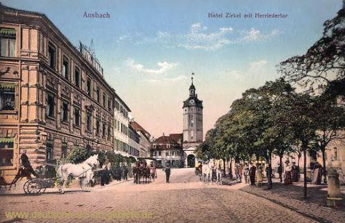 Ansbach, Hotel Zirkel mit Herrieder Tor