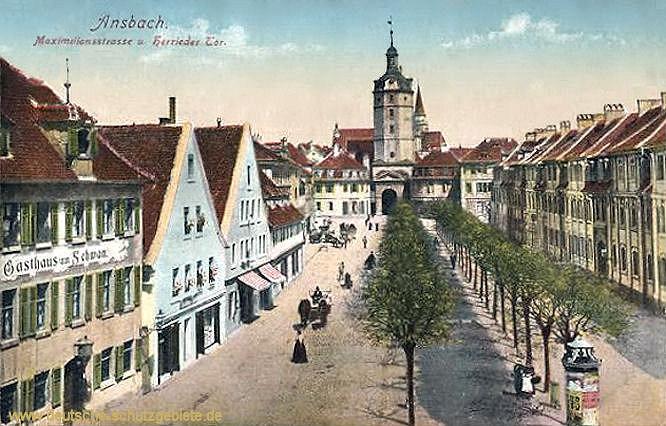 Ansbach, Maximilianstraße und Herrieder Tor