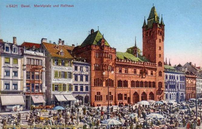 Basel, Marktplatz und Rathaus