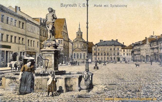 Bayreuth, Markt mit Spitalkirche