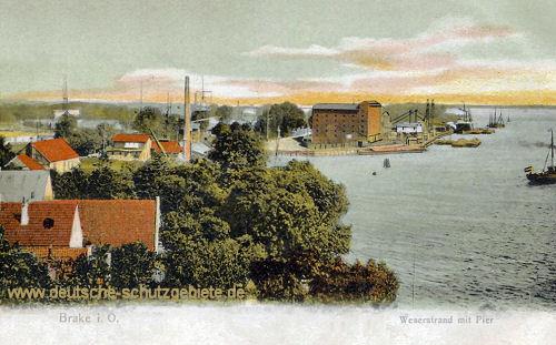 Brake, Weserstrand mit Pier