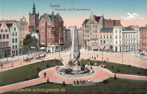 Danzig, Holzmarkt und Kriegerdenkmal