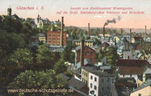 Glauchau, Ansicht auf die Gräfl. Schönburgschen Schlösser und Wehrdicht