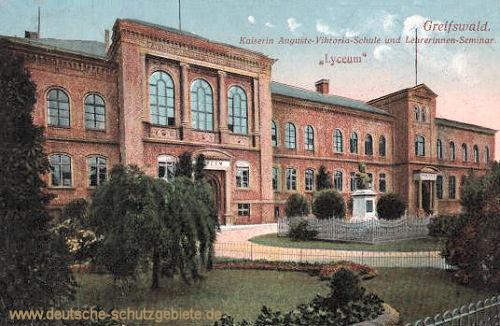 """Greifswald, Kaiserin Auguste Viktoria-Schule und Lehrerinnen Seminar """"Lyceum"""""""
