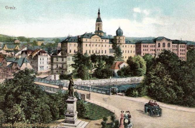 Greiz, Fürstliches Residenzschloss mit Kaiser Wilhelm-Denkmal und Heinrichsbrücke