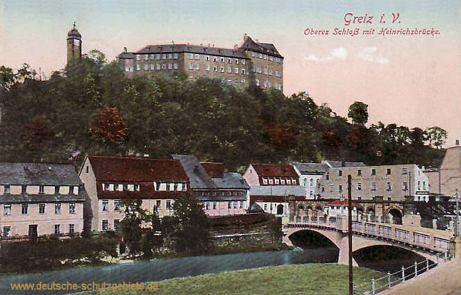 Greiz, Oberes Schloss mit Heinrichsbrücke
