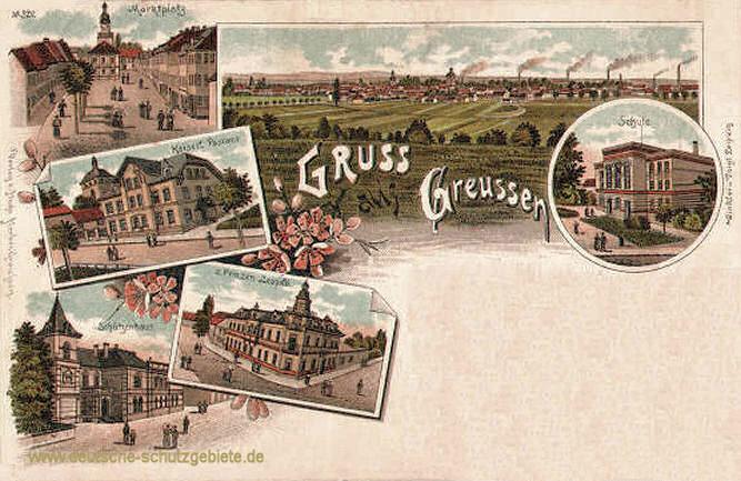 Greußen, Marktplatz, Kaiserliches Postamt, Schützenhaus und Schule
