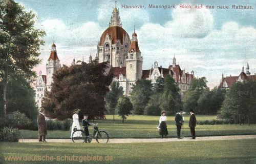 Hannover, Maschpark, Blick auf das neue Rathaus