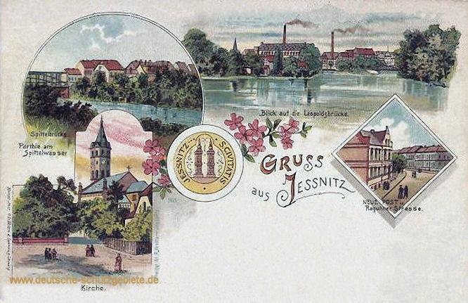 Jessnitz - Spittelbrücke, Kirche, Leopoldbrücke, Neue Post