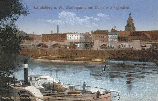Landsberg/ Warthe, Warthepartie mit Dampfer-Anlegestelle