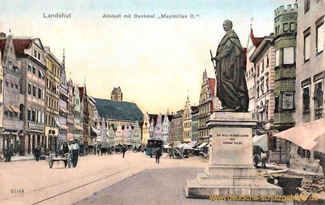 """Landshut, Altstadt mit Denkmal """"Maximilian II."""""""