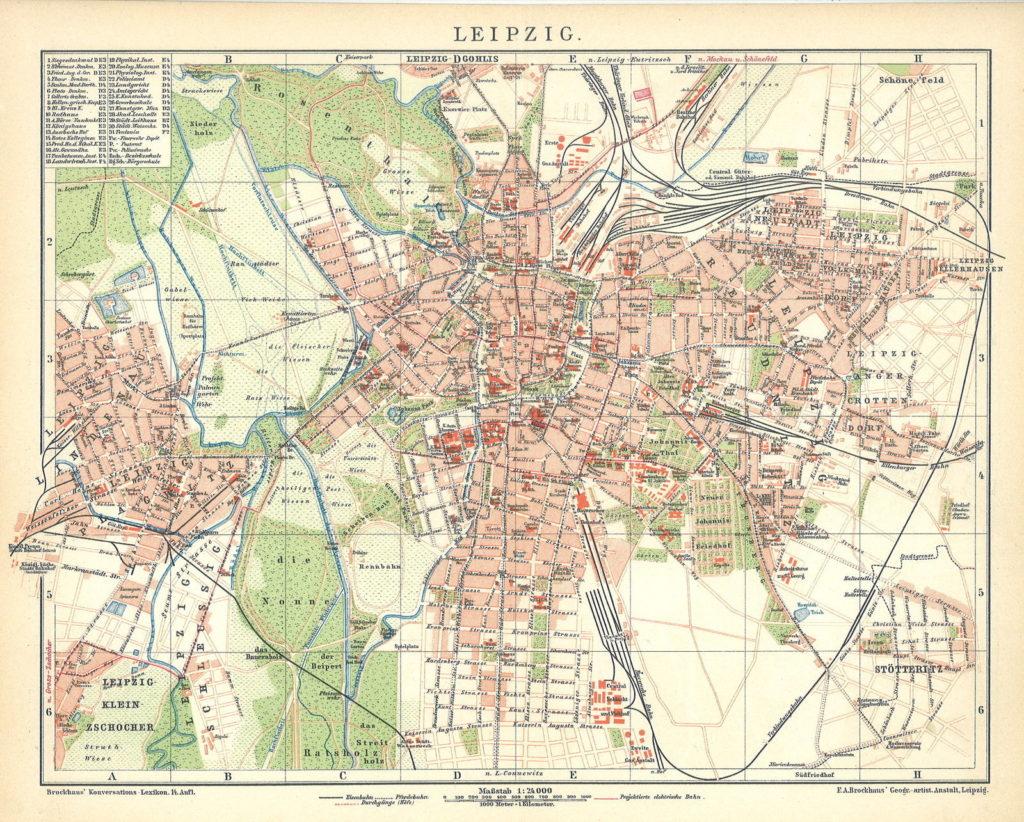 Leipzig, Stadtplan 1898