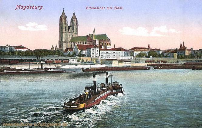 Magdeburg, Elbansicht mit Dom