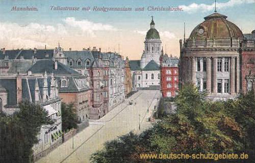 Mannheim, Tullastraße mit Realgymnasium und Christuskirche