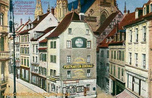 Mülhausen i. Els., Gänseplatz, Ecke Kramgasse, Protestantische Kirche