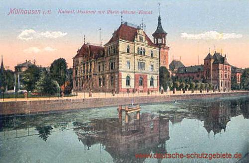 Mülhausen i. E., Kaiserliches Postamt mit Rhein-Rhone-Kanal