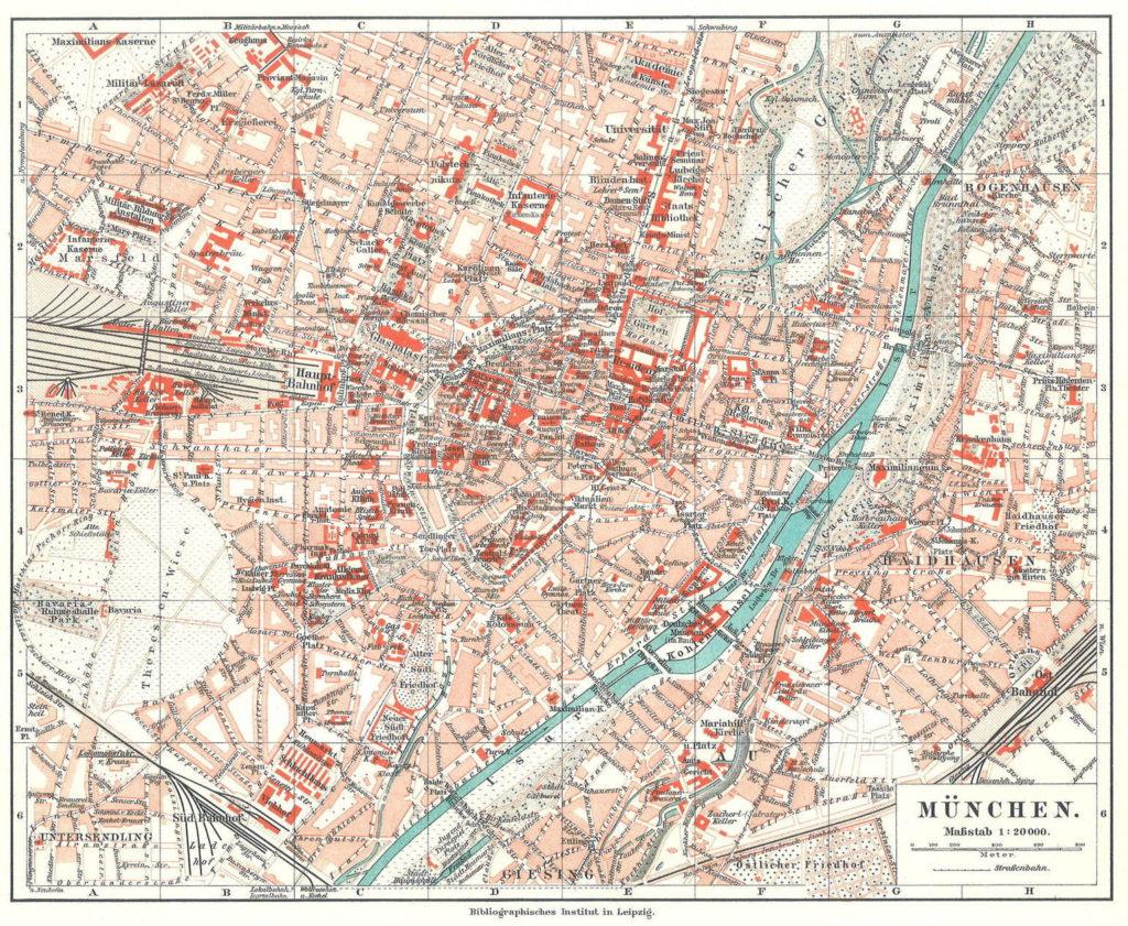 München, Stadtplan 1908