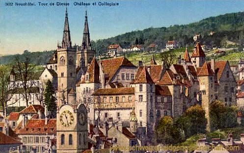 Neuchâtel, Tour de Diesse Château et Collégiale