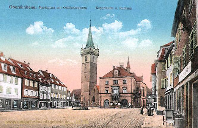 Oberehnheim, Marktplatz mit Odilienbrunnen Kappelturm und Rathaus