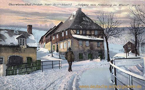 Oberwiesenthal, Aufgang zum Fichtelberg im Winter