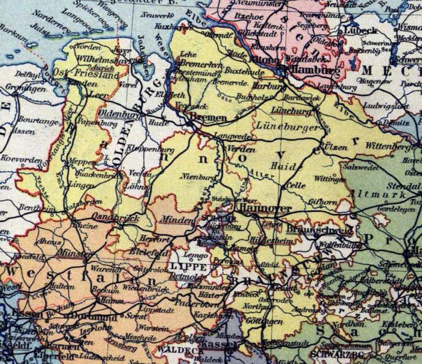 Provinz Hannover, Landkarte 1900