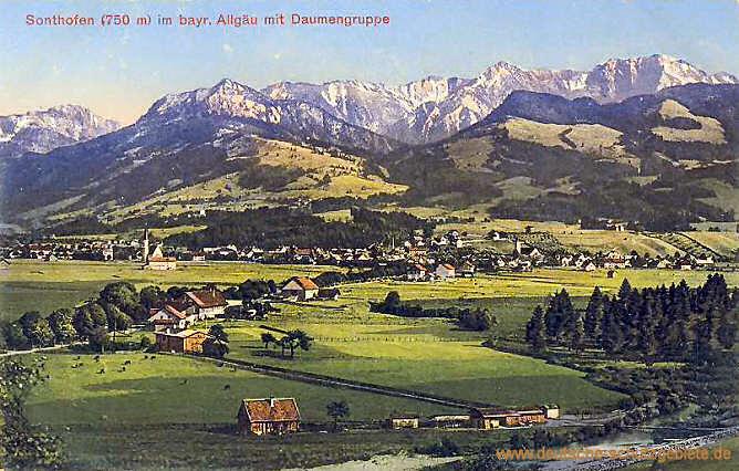 Sonthofen (750 m) im bayrischen Allgäu mit Daumengruppe