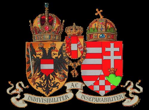 Kronen und Wappen Österreichs und Ungarns