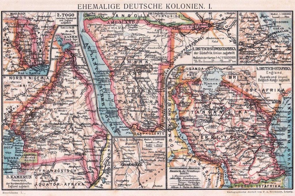 Ehemalige Deutsche Kolonien I., Kartographische Anstalt von F.A. Brockhaus, Leipzig: Deutsch-Südwestafrika, Deutsch-Ostafrika, Kamerun, Togo