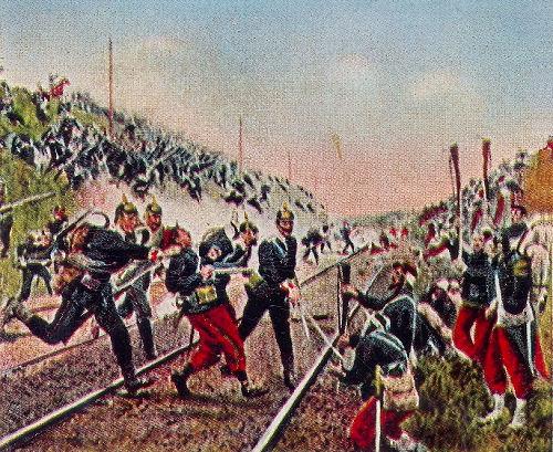 Erstürmung des Eisenbahndammes bei Nuits durch die Badener, 18. Dezember 1870