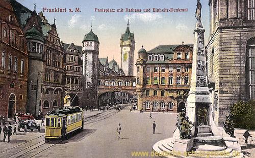 Frankfurt a. M., Paulsplatz mit Rathaus und Einheitsdenkmal