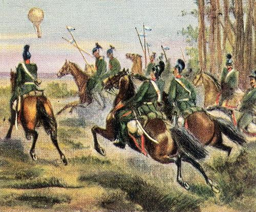 Verfolgung eines französischen Ballons durch deutsche Reiter, 1870