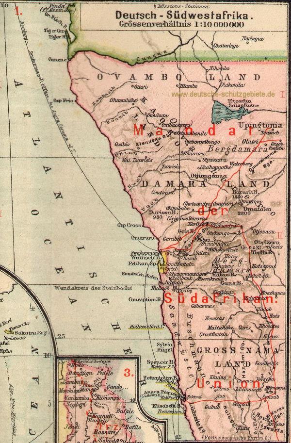 Deutsch-Südwestafrika, Landkarte 1919