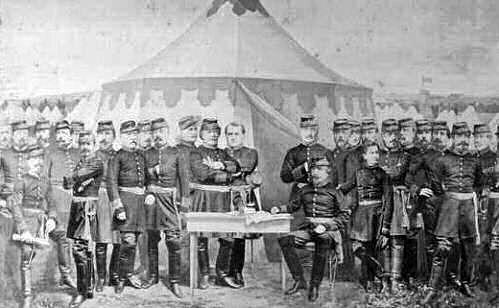Napoleon III. und sein Sohn im großen Camp bei Chalons 1870