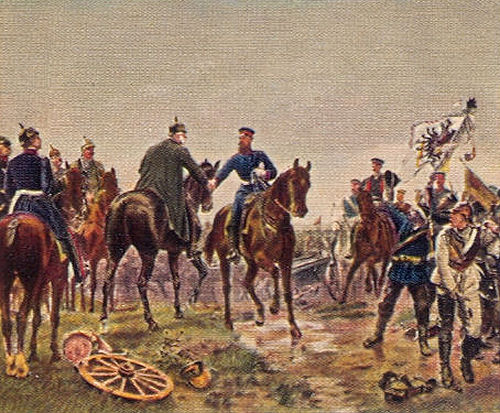 Begegnung König Wilhelms mit Kronprinz Friedrich Wilhelm in der Schlacht bei Königgrätz am 3. Juli 1866