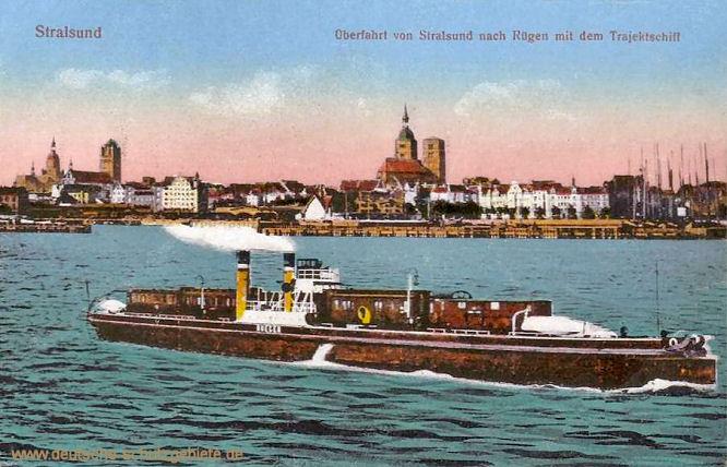 Stralsund, Überfahrt von Stralsund nach Rügen mit dem Trajektschiff (Eisenbahnfähre)