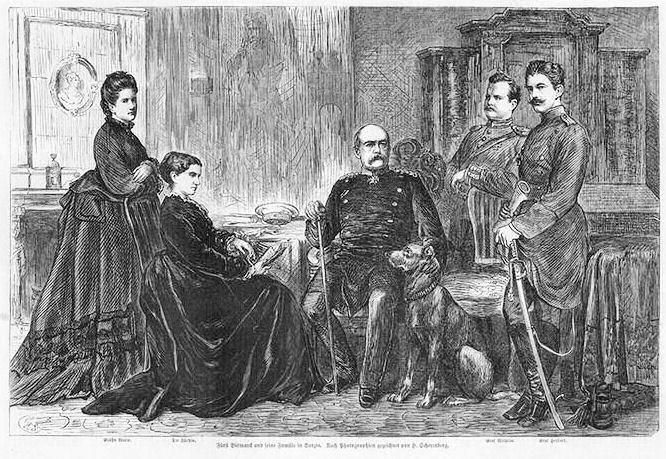 Otto von Bismarck mit Frau und Kindern