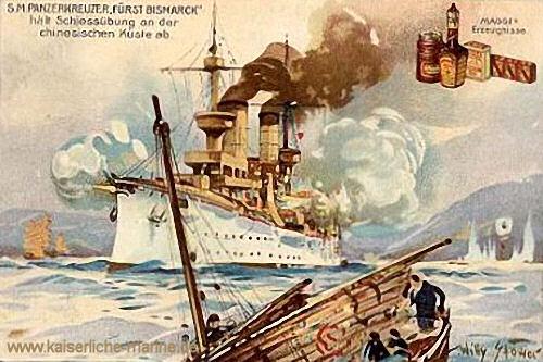 S.M.S. Fürst Bismarck hält Schießübungen vor der chinesischen Küste ab
