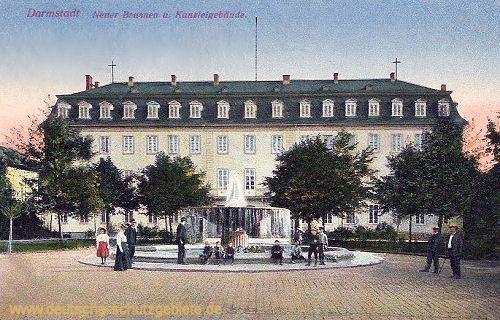 Darmstadt, Neuer Brunnen und Kanzleigebäude