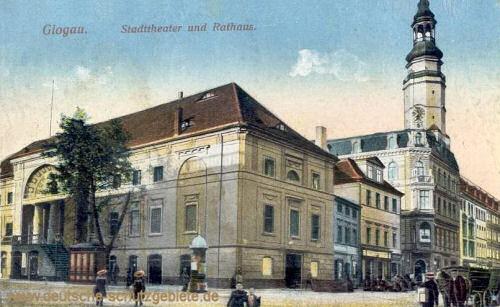 Glogau, Stadttheater und Rathaus