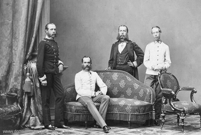 Kaiser Franz Joseph umgeben von seinen Brüdern, 1863