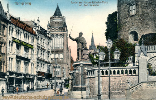 Königsberg i. Pr., Partie am Kaiser-Wilhelm-Platz mit dem Denkmal