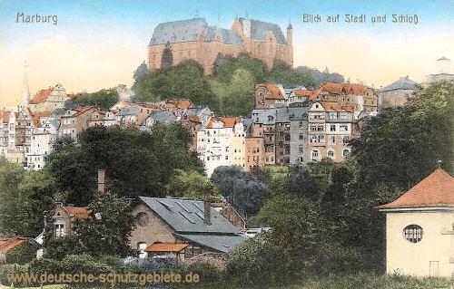 Marburg a. d. Lahn, Blick auf Stadt und Schloss