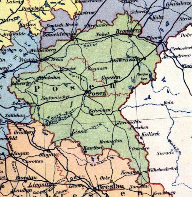 Provinz Posen, Landkarte 1900