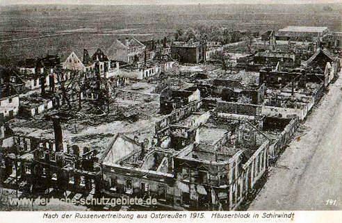 Nach der Russenvertreibung aus Ostpreußen 1915. Häuserblock in Schirwindt
