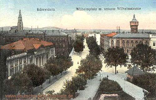 Schweidnitz, Wilhelmplatz mit unterer Wilhelmstraße