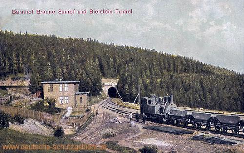 Blankenburg Harz, Bahnhof Braune Sumpf und Bielstein-Tunnel